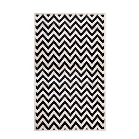 tapis tiss en coton rayures noir et cr achat. Black Bedroom Furniture Sets. Home Design Ideas