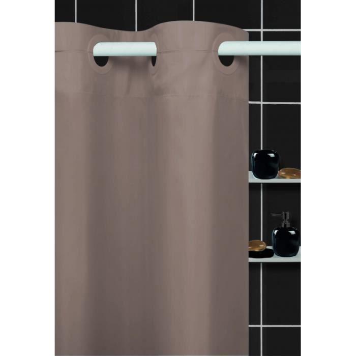 Rideau de douche 100 polyester coloris taupe achat for Rideau de douche plombe