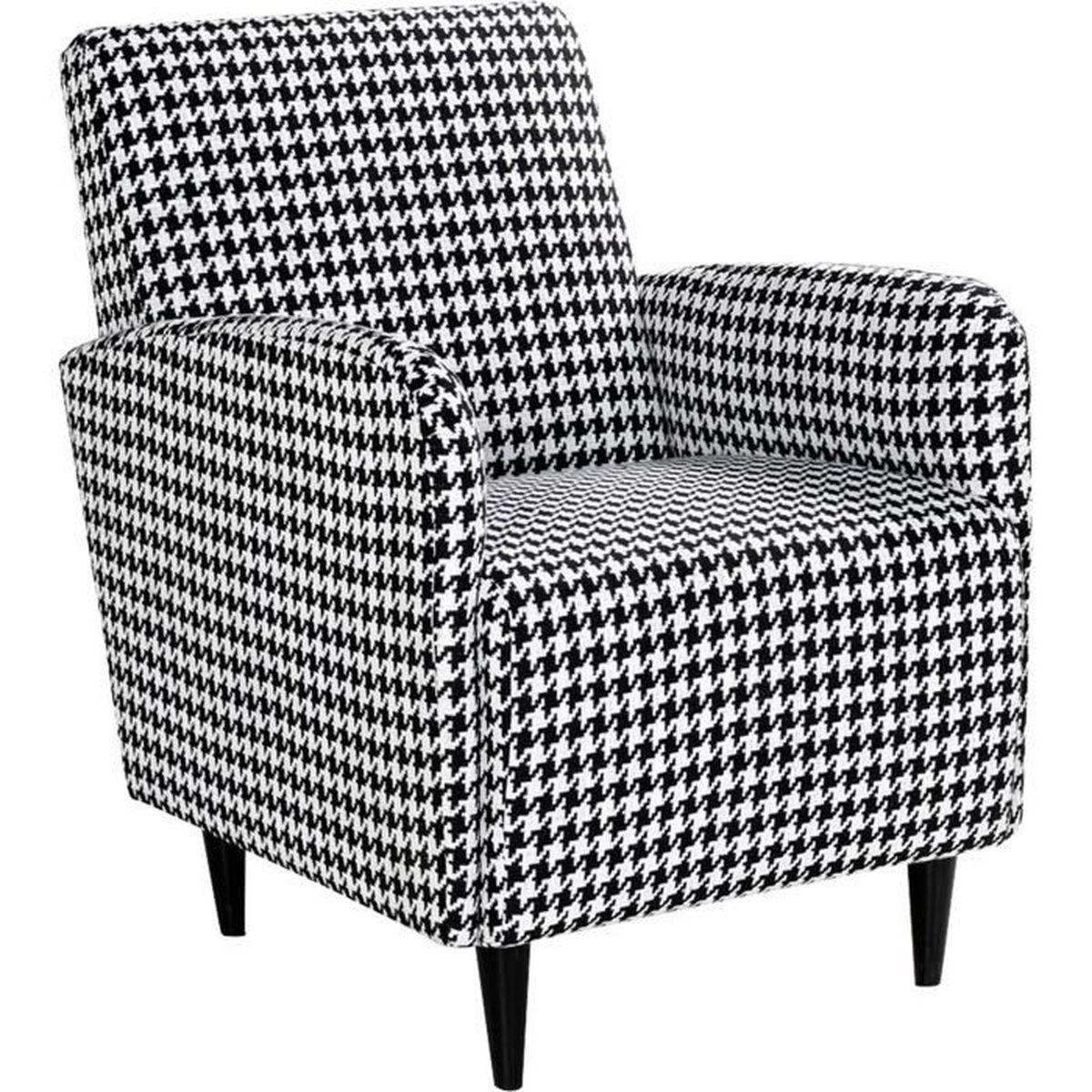 nouno fauteuil en tissu motifs pied de coq achat. Black Bedroom Furniture Sets. Home Design Ideas