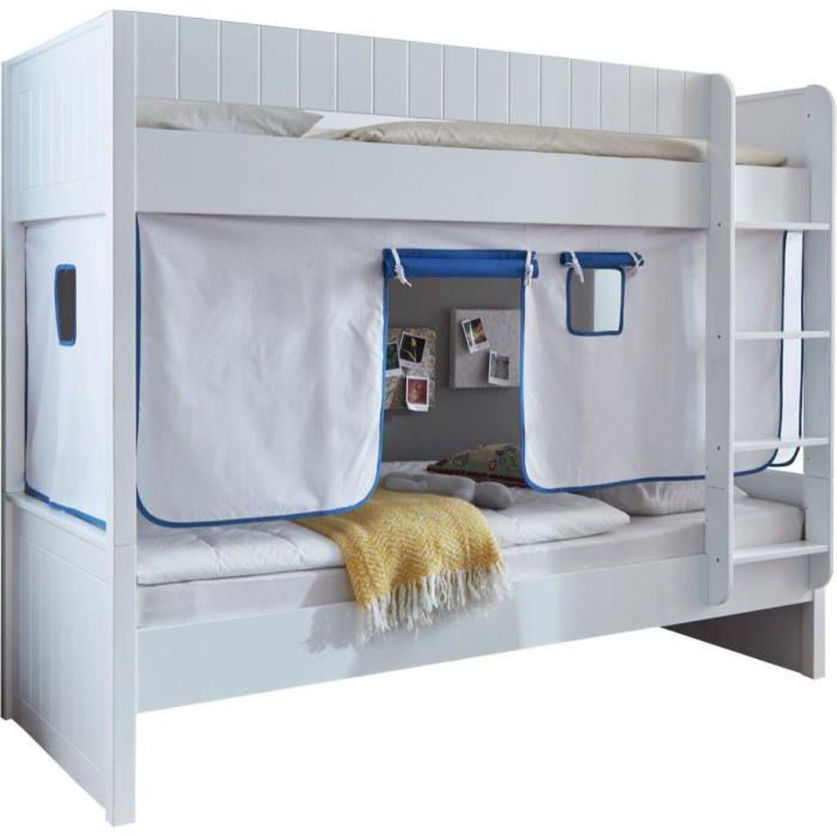 lit superpos en bois h tre massif avec tente de jeu coloris blanc blanc achat vente lits. Black Bedroom Furniture Sets. Home Design Ideas