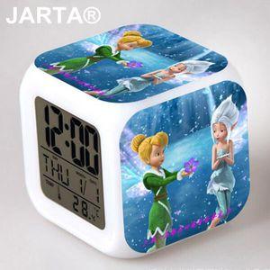 HORLOGE Fée Clochette 7 Couleur Digital Alarm Clocks cube