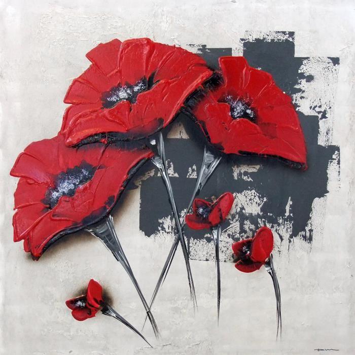 flowers tableau d co toile peinte la main 50x50 cm rouge achat vente tableau toile toile. Black Bedroom Furniture Sets. Home Design Ideas