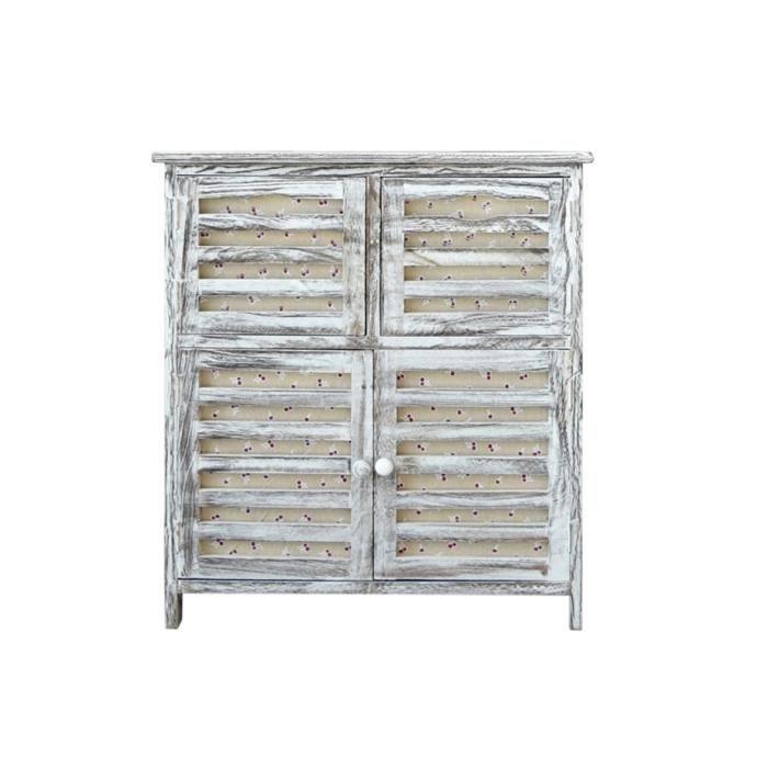 Meuble de rangement commode 4 porte bois blanc shabby chic for Meuble bois commode