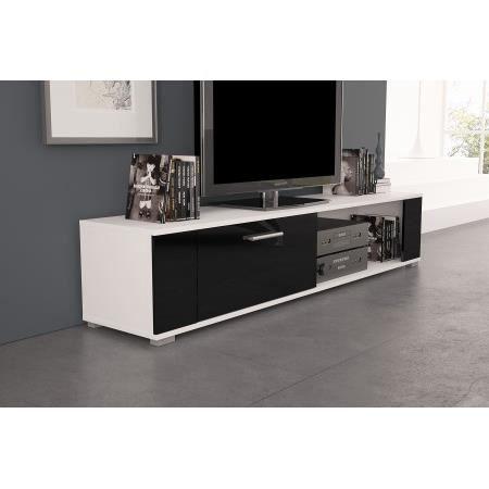 Meuble tv orkus blanc mat noir brillant achat vente meuble tv meuble tv - Meuble tv noir brillant ...