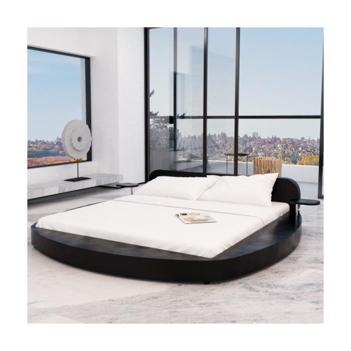 superbe cadre de lit en pu rond avec deux tablettes 180 x 200 cm noir achat vente structure. Black Bedroom Furniture Sets. Home Design Ideas