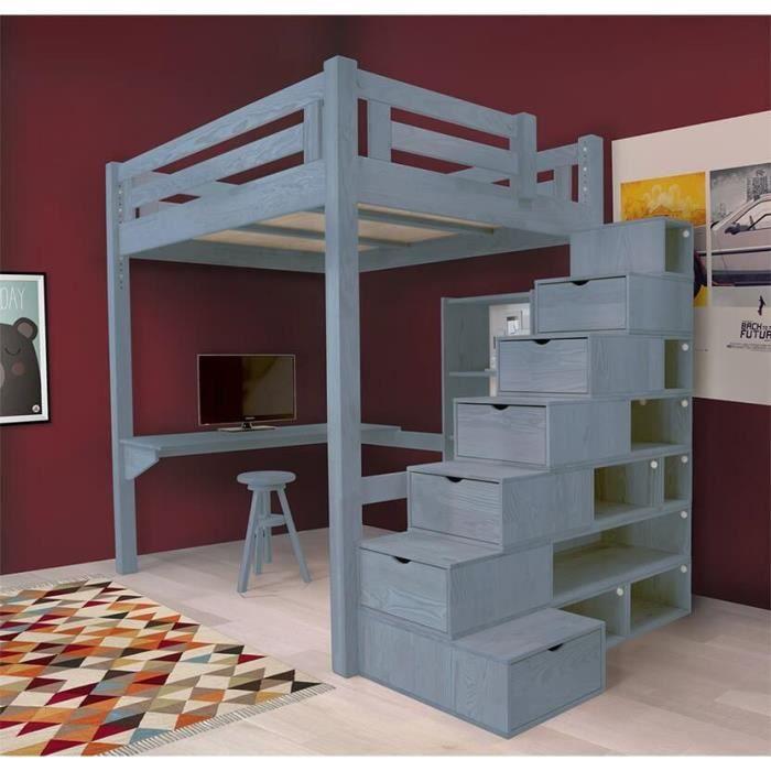 Lit mezzanine alpage bois escalier cube hauteur r glable teint bleu paste - Escalier cube mezzanine ...