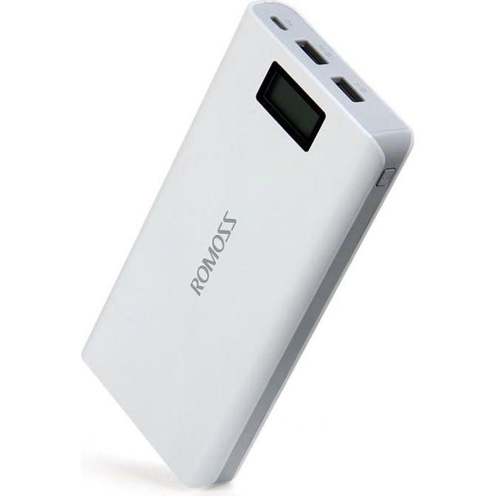 romoss sense 6 plus power bank recharge batterie externe 20000mah lcd portable chargeur rapide. Black Bedroom Furniture Sets. Home Design Ideas