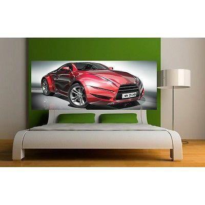 Papier peint t te de lit voiture sport 3649 dimensions 200x78cm achat v - Lit voiture occasion ...