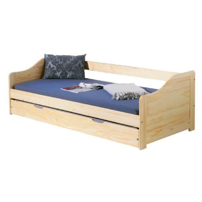 Lit tiroir 90 x 190 cm en bois massif vernis achat Lit mezzaclic 140x190