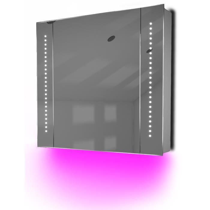 miroir de salle de bain avec capteur et prise rasoir interne k18p rose taille l 600mm x l. Black Bedroom Furniture Sets. Home Design Ideas