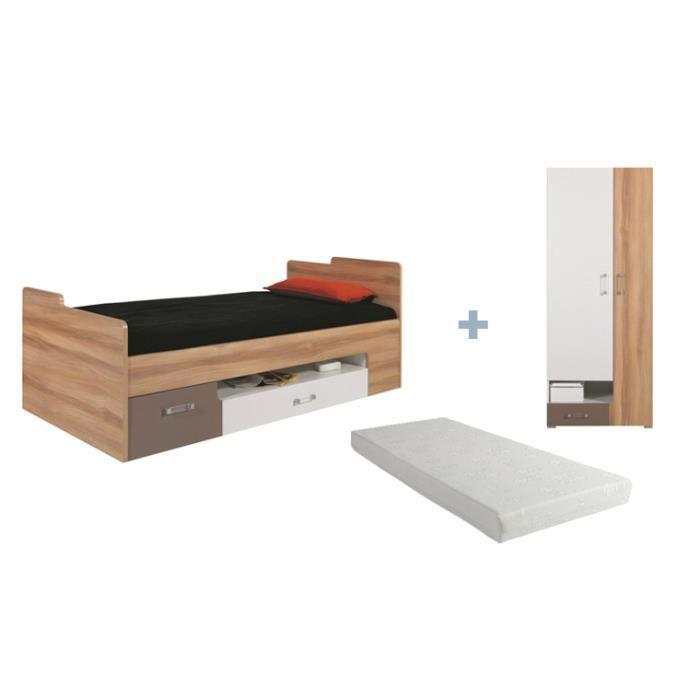 Lit ado avec matelas et tiroir puzzle avec armoire for Amenagement chambre ado avec matelas lit electrique 90x200