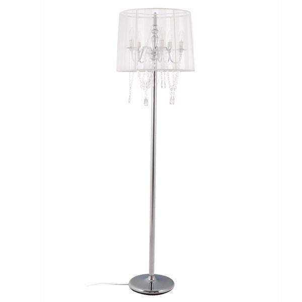 Lampe de sol design diam blanc achat vente lampe de for Lampe de sol but