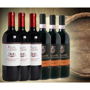 VIN ROUGE Sélection de 6 bouteilles de Vins Rouges Italiens,