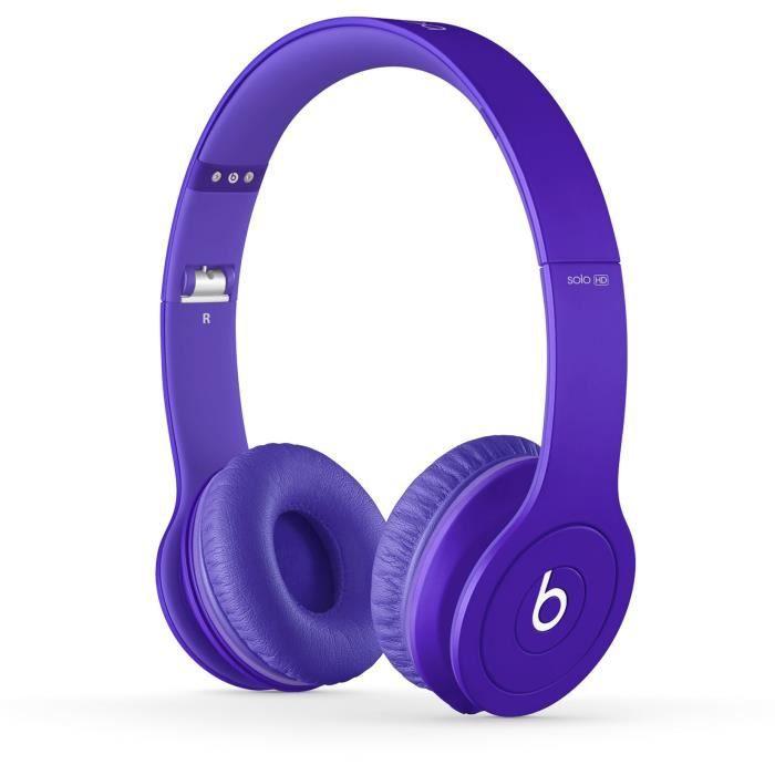 casque beats by dr dre solo hd purple violet casque. Black Bedroom Furniture Sets. Home Design Ideas