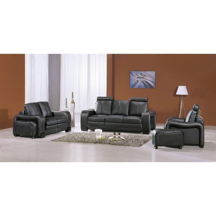 ensemble canap cuir noir 3 2 1 places berlin achat. Black Bedroom Furniture Sets. Home Design Ideas