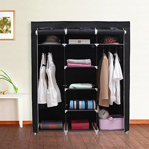 meuble penderie garde robe etagere pour chaussures vetements 175 x 150 x 45 cm noir achat. Black Bedroom Furniture Sets. Home Design Ideas