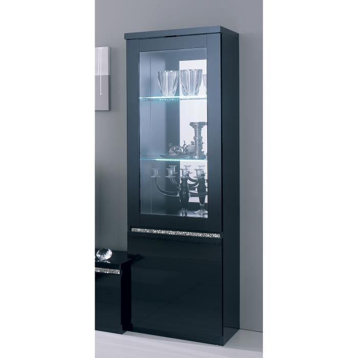 vitrine noir laqu avec clairage en option design alisa sans achat vente vitrine. Black Bedroom Furniture Sets. Home Design Ideas