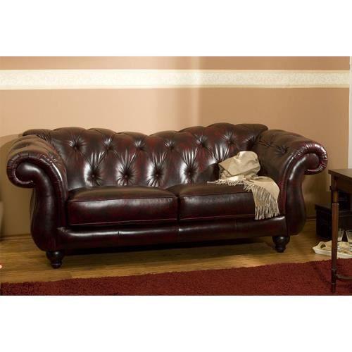 Canap leeds 3 places en cuir v ritable rouge antique for Rembourrage canape cuir