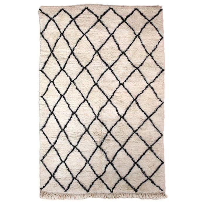 tapis beni ouarain 11086 laine fait main environ 250x155cm cru 200x300 achat vente tapis. Black Bedroom Furniture Sets. Home Design Ideas