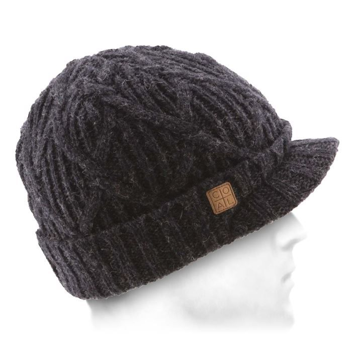 Bonnet casquette homme Yukon Brim Coal 100% Laine Bandeau intérieur