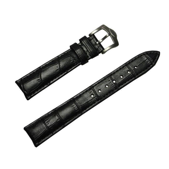 bracelet en cuir noir pour homme pour montre 18mm noir. Black Bedroom Furniture Sets. Home Design Ideas