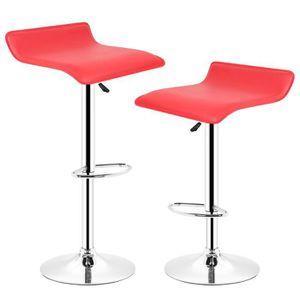 Lot de 2 tabourets de bar bistrot rouge pivotant et - Chaise de bar hauteur 60 cm ...