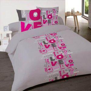 housse de couette love 200x200 achat vente housse de couette love 200x200. Black Bedroom Furniture Sets. Home Design Ideas