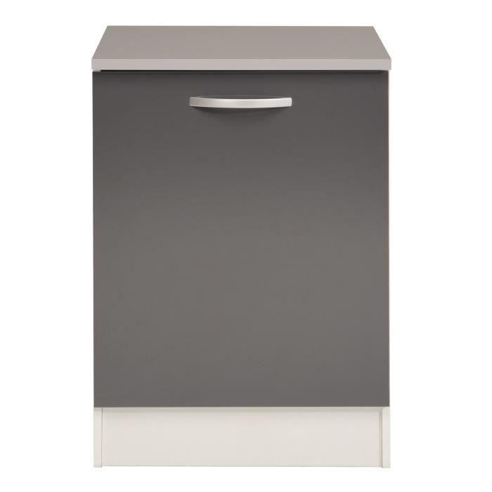 Eko gris meuble de cuisine bas 1 porte 60cm achat for Porte element de cuisine