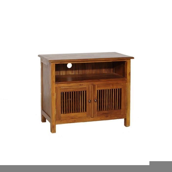 Biarritz meuble tv 80 cm miel achat vente meuble tv - Meuble tv largeur 80 cm ...
