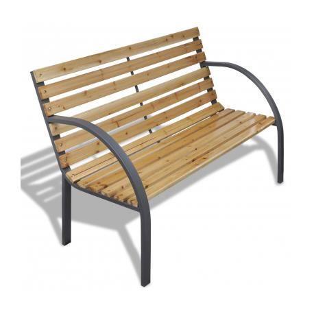 banc de jardin m tal et lattes en bois achat vente. Black Bedroom Furniture Sets. Home Design Ideas