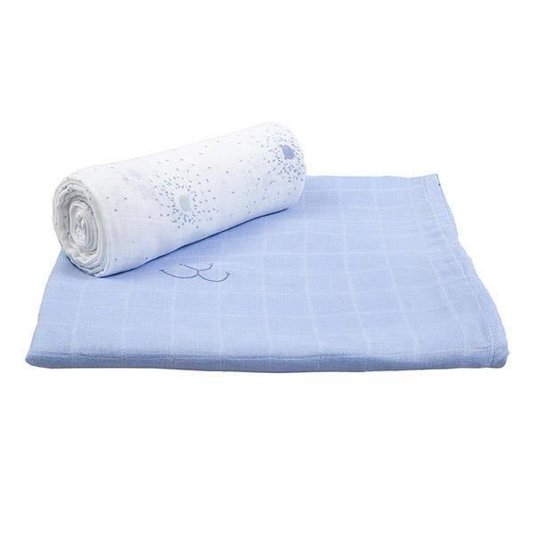 lot de 2 langes carr s 100 x 100 cm en bambou bleu cocon achat vente insert lange tissu. Black Bedroom Furniture Sets. Home Design Ideas
