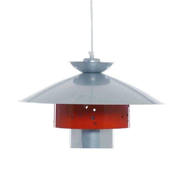 suspension metal laque gris et rouge lampe lust achat vente suspension metal laque gris. Black Bedroom Furniture Sets. Home Design Ideas