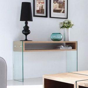 console verre achat vente console verre pas cher les soldes sur cdiscount cdiscount. Black Bedroom Furniture Sets. Home Design Ideas