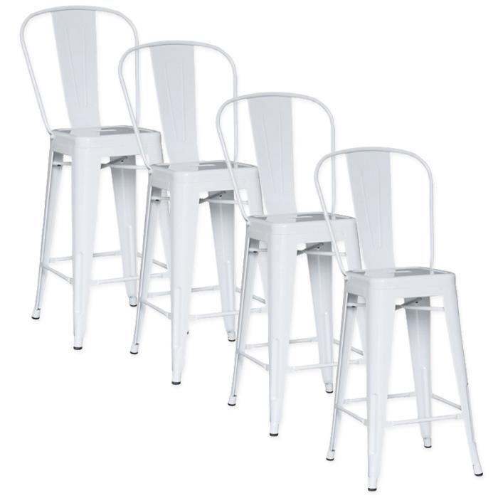 lot de 4 chaises de bar m tal loft laqu blanc achat vente tabouret de bar blanc cdiscount. Black Bedroom Furniture Sets. Home Design Ideas