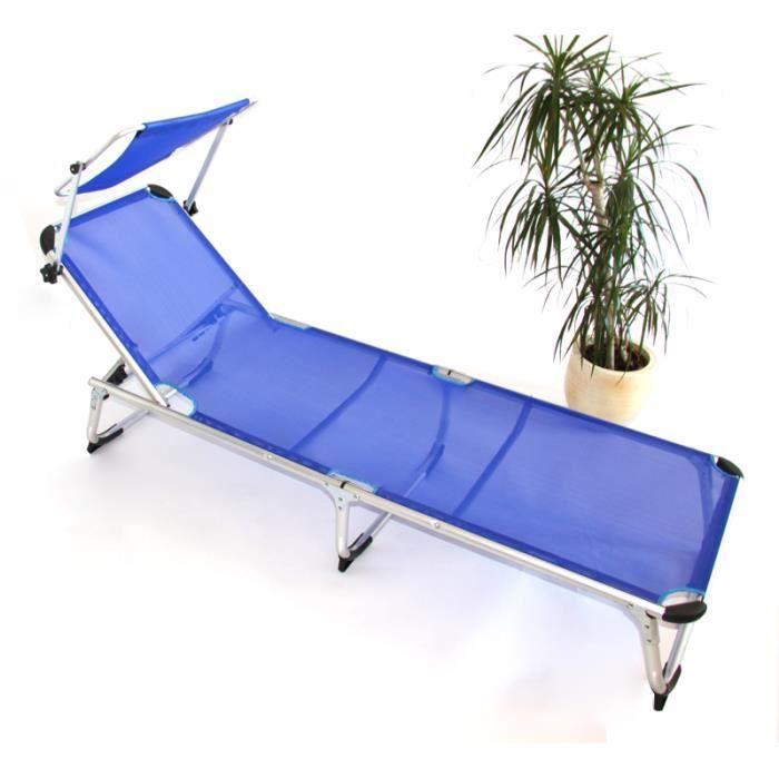 alu transat bain de soleil avec auvent bleu achat. Black Bedroom Furniture Sets. Home Design Ideas