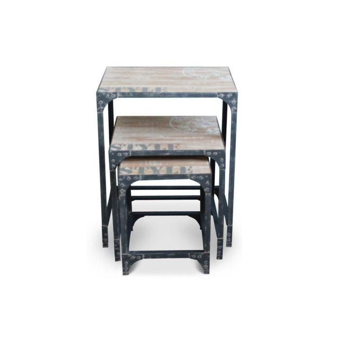 Table basse gigogne en bois naturel grise natura achat for Table basse gigogne bois