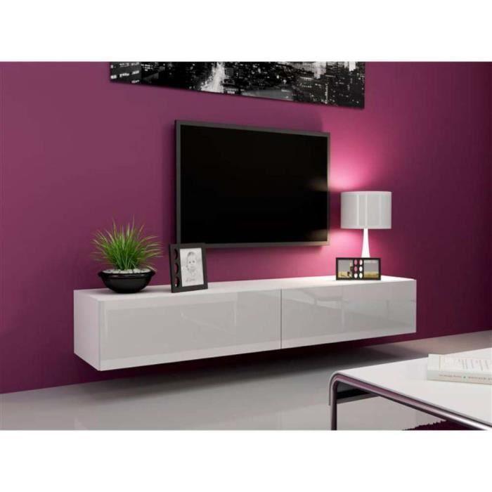 Justhome vigo meuble tv 180 cm couleur blanc mat blanc for Meuble tv haut blanc laque