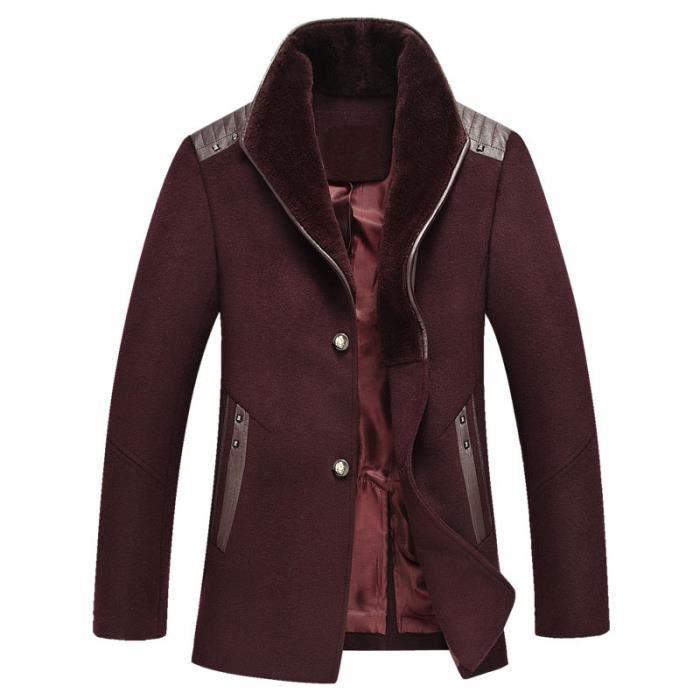 caban mi long manteau l 39 hiver pour homme laine slim coat manches longues rouge achat vente. Black Bedroom Furniture Sets. Home Design Ideas