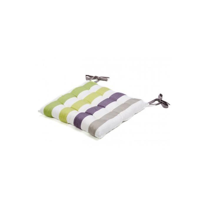 Galette de chaise coton ray 40x40 blanc vert achat - Galette de chaise blanc ...
