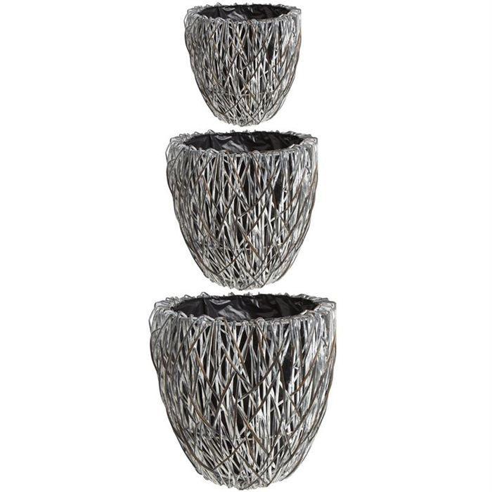 3 cache pot osier teint doubl plastique jcp284sp achat. Black Bedroom Furniture Sets. Home Design Ideas