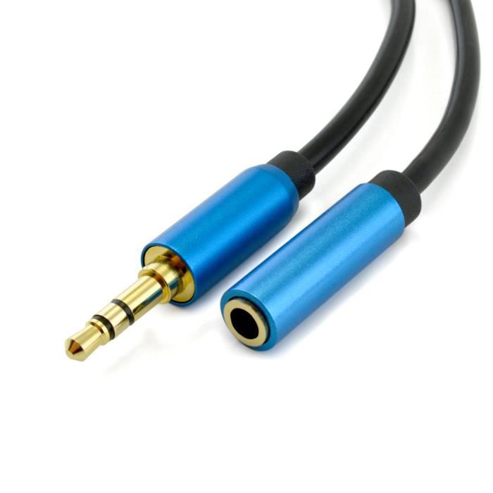 c ble rallonge audio st r o 5m connecteurs jack 3 5 mm m le et femelle cordon pvc souple. Black Bedroom Furniture Sets. Home Design Ideas
