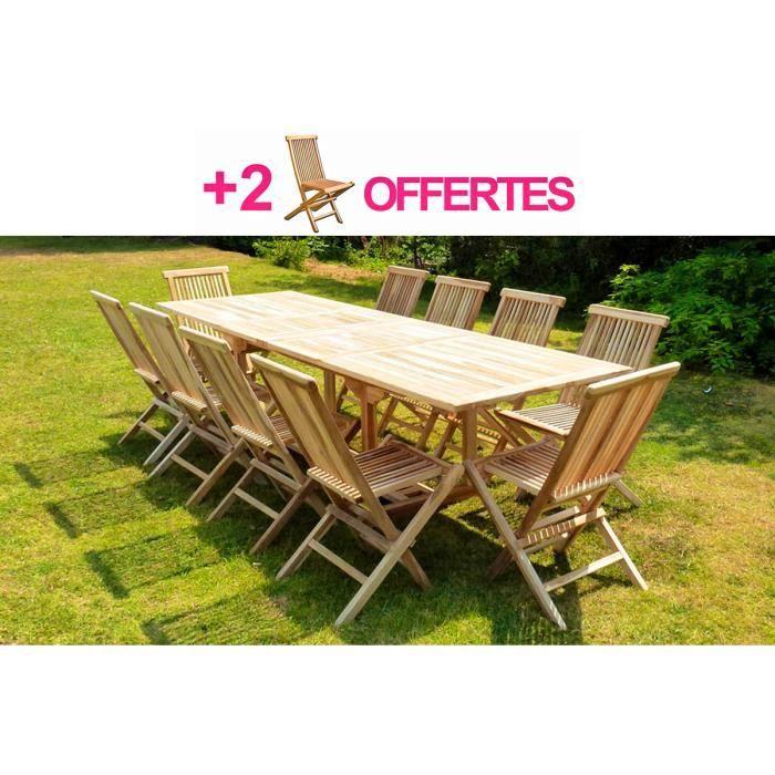 Ensemble de jardin teck 10 chaises 2 chaises offertes - Ensemble jardin teck ...