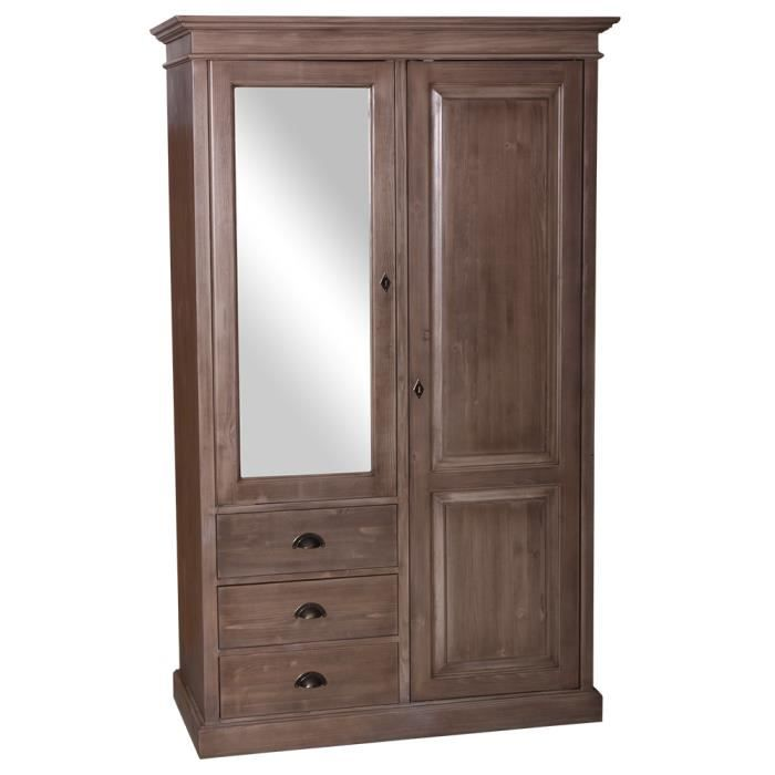Armoire pin massif miroir 2 portes 3 tiroirs 1 achat - Peindre encadrement porte 2 couleurs ...