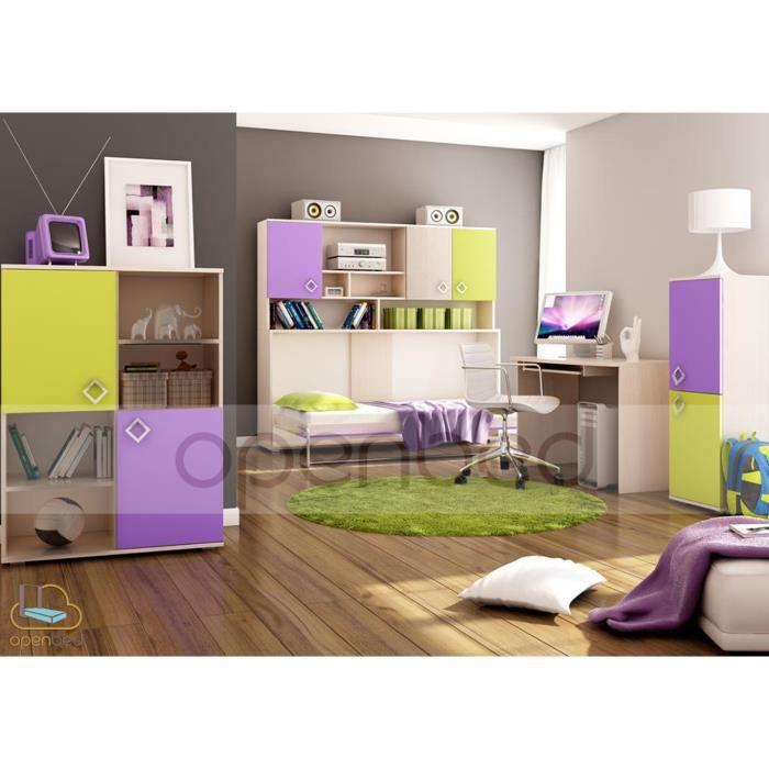 lit escamotable pica horizontal 90 x 190 vert violet achat vente lit escamotable lit. Black Bedroom Furniture Sets. Home Design Ideas