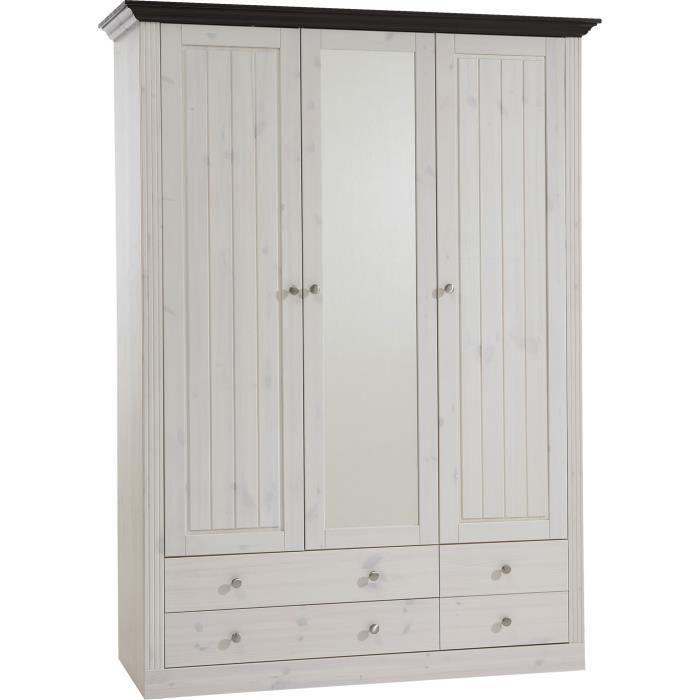 Armoire 3 portes en pin massif blanc marron fonc dim 201 x 145 x 60 cm - Armoire pin massif blanc ...