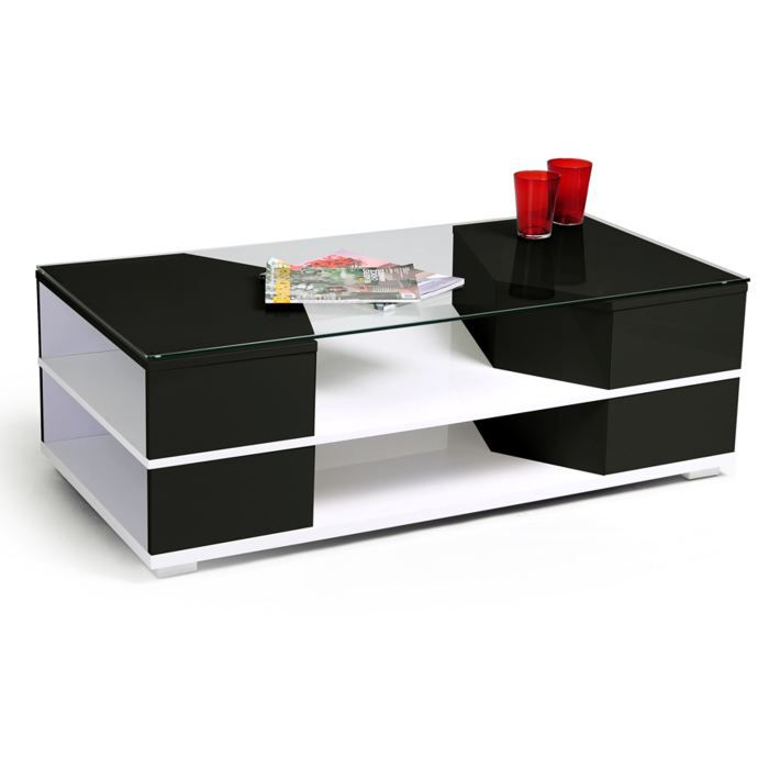 Table basse laqu e noire et blanche milazo 2 achat - Table basse noire et blanche ...