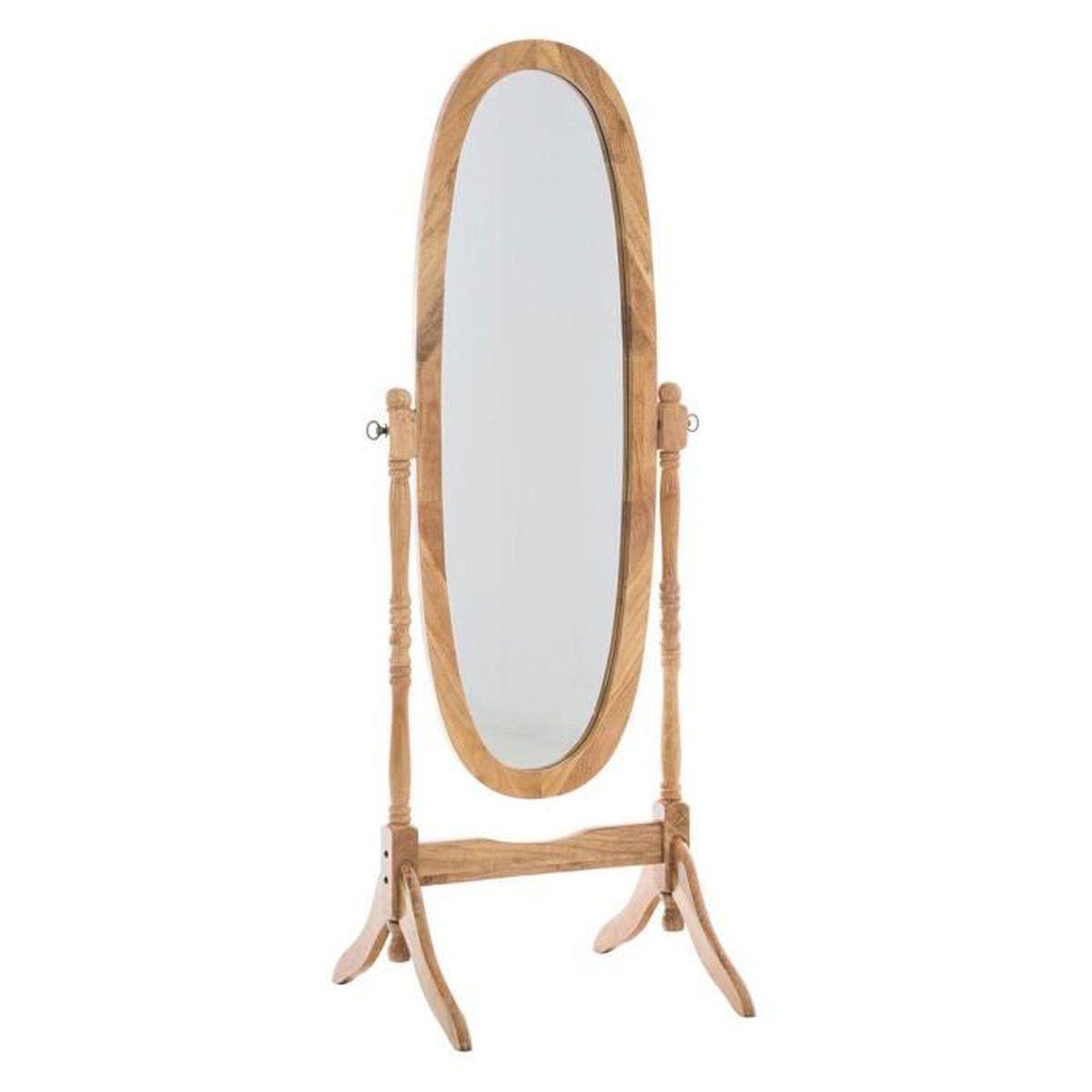 Miroir ovale en bois coloris ch ne 150 x 59 x 51 cm for Miroir 150 x 100