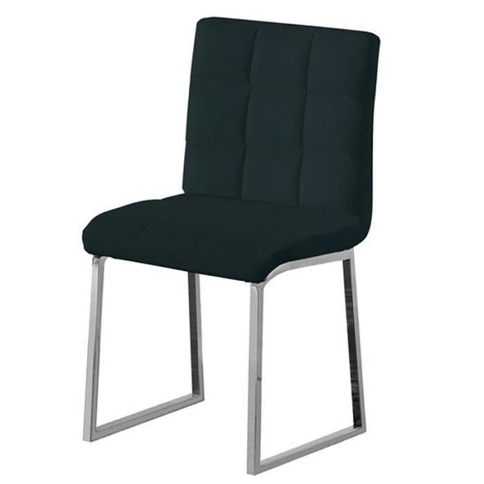 Chaise noir en acier chrom avec armature en m achat vente chaise acier chrom pu cdiscount for Chaise en acier poitiers