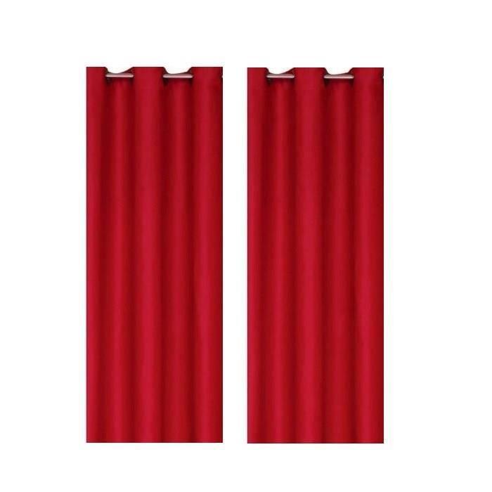 paire de rideaux occultants rouge 140x260cm achat vente rideau voilage cdiscount. Black Bedroom Furniture Sets. Home Design Ideas