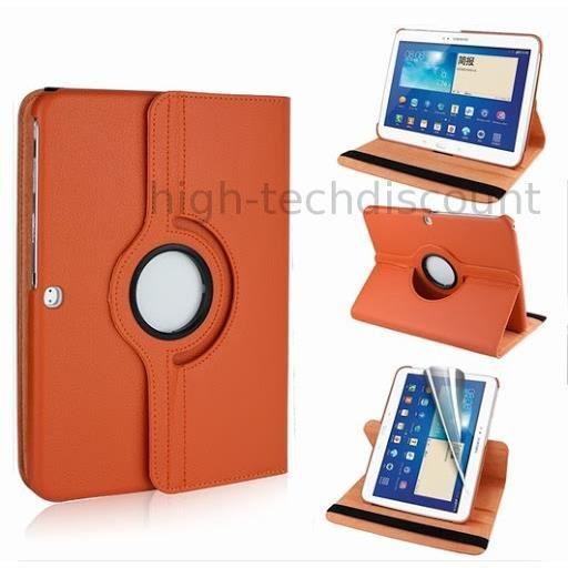 Housse etui coque pochette pu cuir pour samsung galaxy tab 4 10 1 t530 film ecran orange - Pochette pour tablette samsung ...
